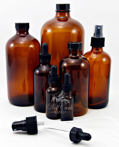 Amber bottles - 1 oz. dropper; 4 oz. dropper; 8 oz. 8 oz. mister; 16 oz.; 32 oz.