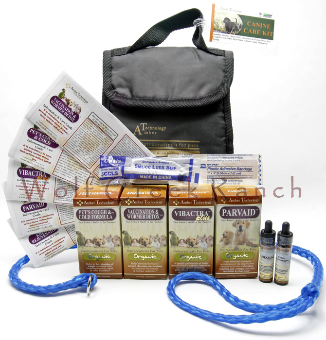 Natural Canine Parvo Health Care Kit is excellent for preventative parvo health care and parvo virus disease treatment.  The organic Canine Parvo Puppy Health Care Kit contains:  Paxxin, Vibactra Plus, Vintesta, Life Cell Support, Kidney Rejuvenator, Bandaids, a syringe and leash, all in a nice zippered travel bag.