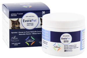 EvoraPet Oral Care Probiotics specially formulated to freshen breath and clean teeth naturally.