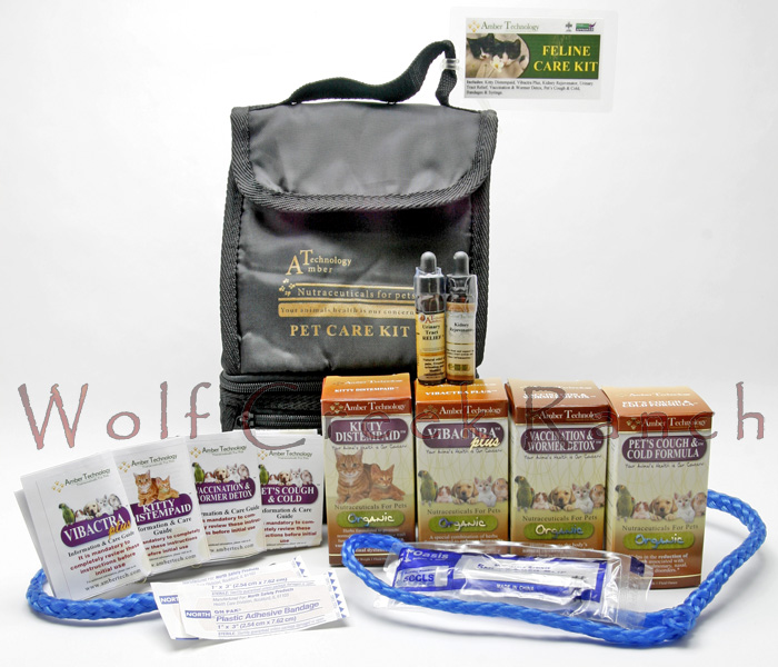 Natural Kitten Health Care Kits are excellent for cat and kitten health.  The organic Feline Health Care Kit contains:  Kitty Distempaid, Vibactra Plus, Pet's Cough & Cold Formula, Vaccination & Wormer Detox, Kidney Rejuvenator, Urinary Tract Relief, Bandaids, a syringe and leash, all in a nice zippered travel bag.