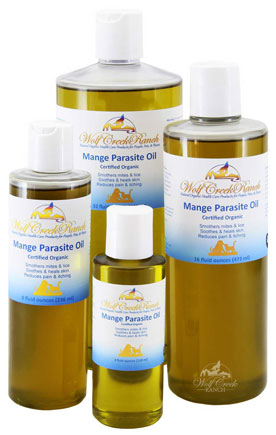 Mange Parasite Oil 4 oz., 8 oz., 16 oz. bottles.  Mange Parasite Oil calms and soothes rough irritated skin and kills mites and other skin parasites.