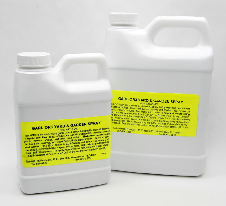 Garl-Or3 Yard & Garden Spray eliminates and controls annoying insects such as fleas, flies, aphids, ants, beetles, mosquitoes, and other insects out of your yard, garden, barn, kennels, etc.